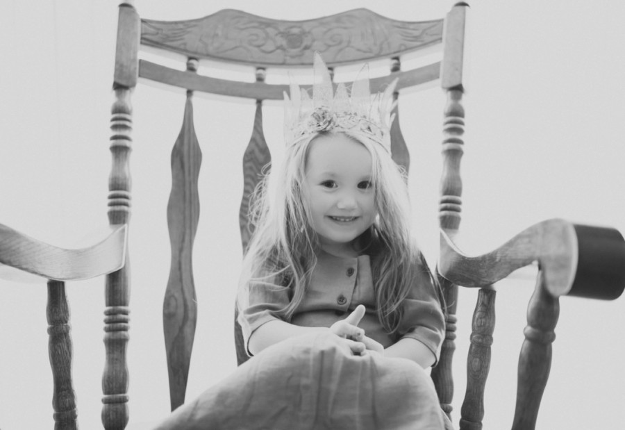 Indoor Black and White Three Year Old Session