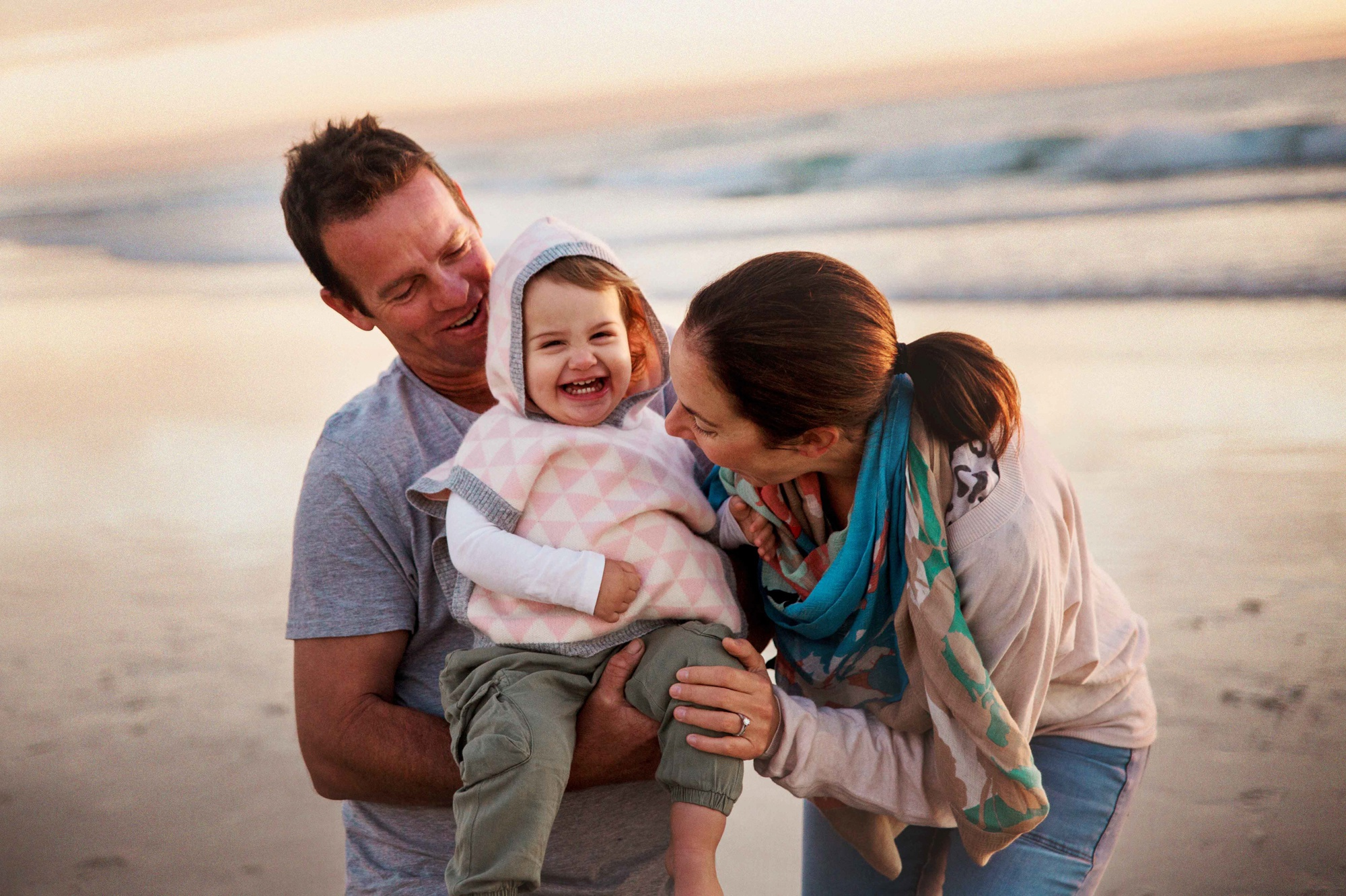 family of 3 poses, beach family picture ideas, what to wear for family pictures, Morning Sunrise Australian Family Session