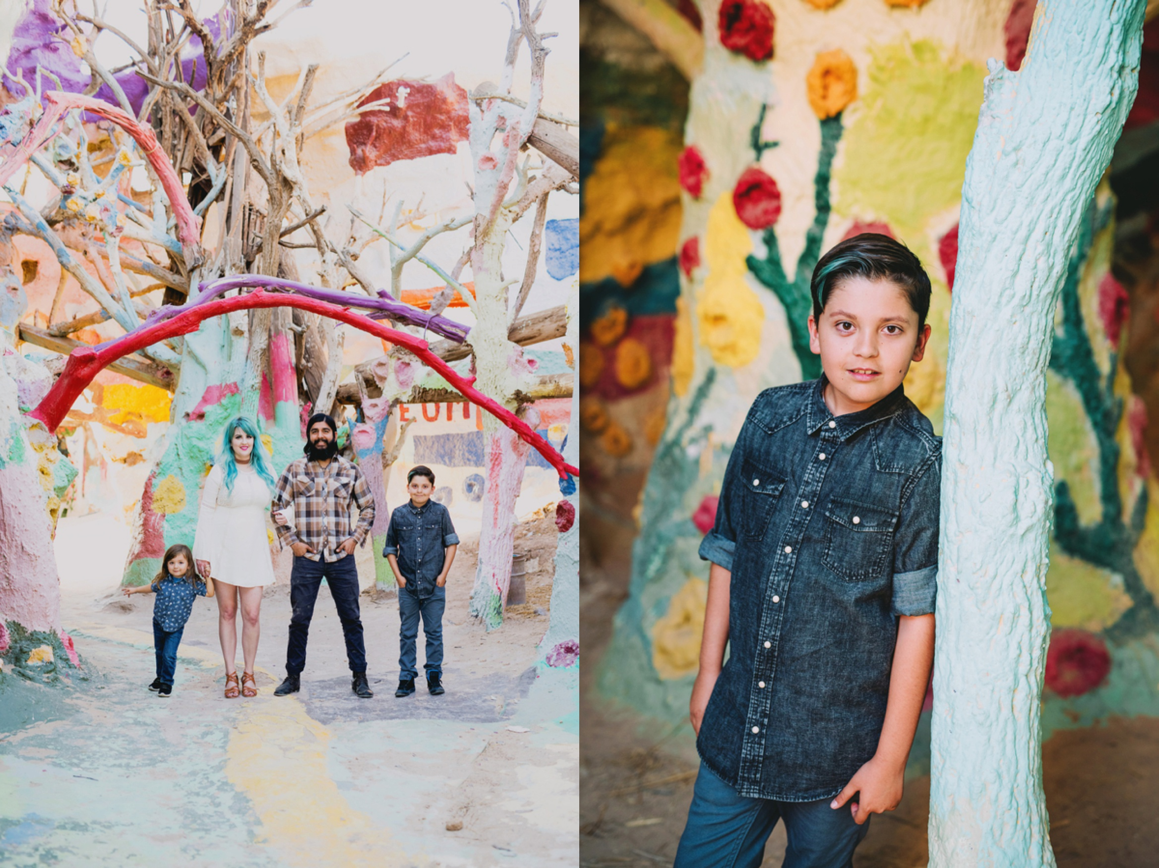 family picture ideas, family of 4 poses, what to wear for family pictures, Colorful Desert Family Session