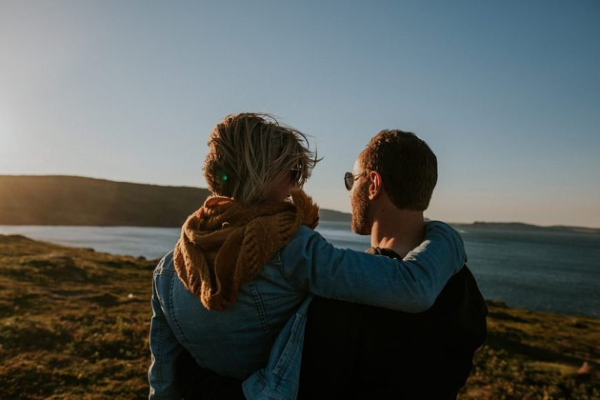 engagement picture ideas, engagement pictures with pets, Windy Lighthouse Engagement: Karla + Ross