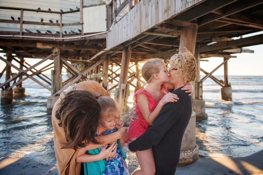same sex family picture ideas, family pictures at the beach, Sunset Pier Family Session