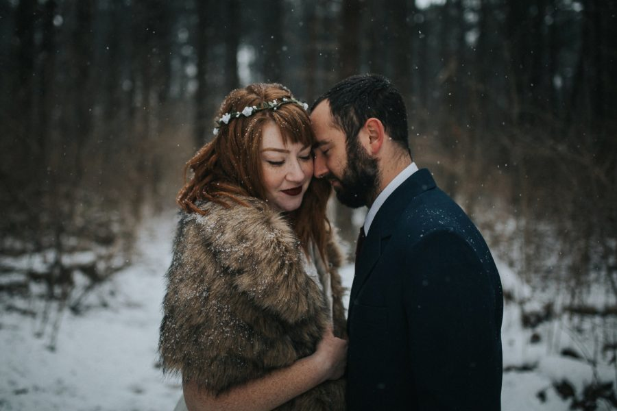 styled wedding pictures, winter brides, Snowy Park Wedding Portraits