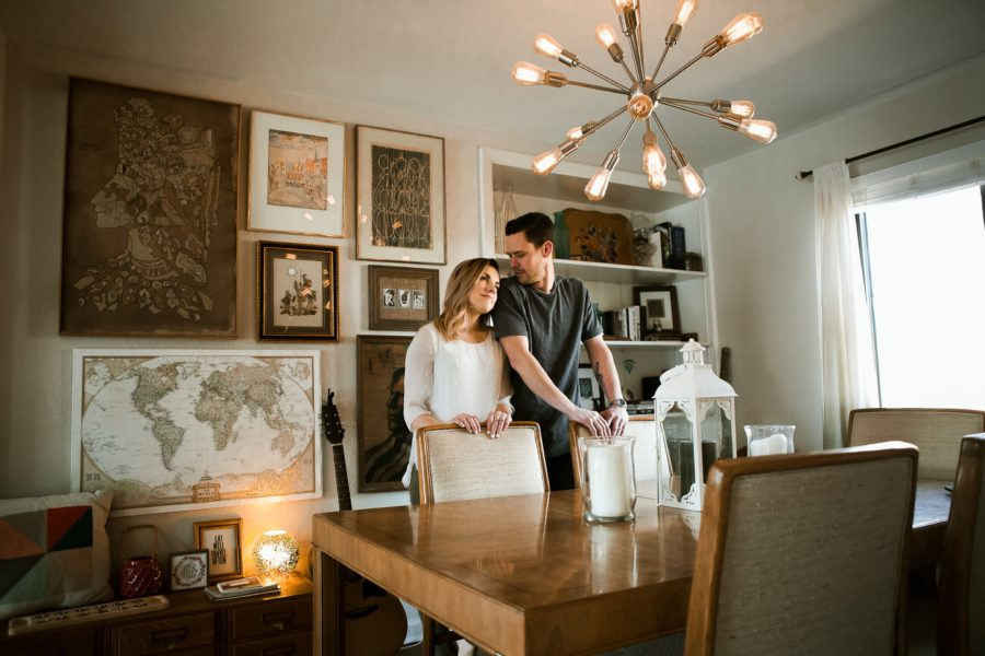 husband and wife in dining room, Romantic in Home Anniversary Session