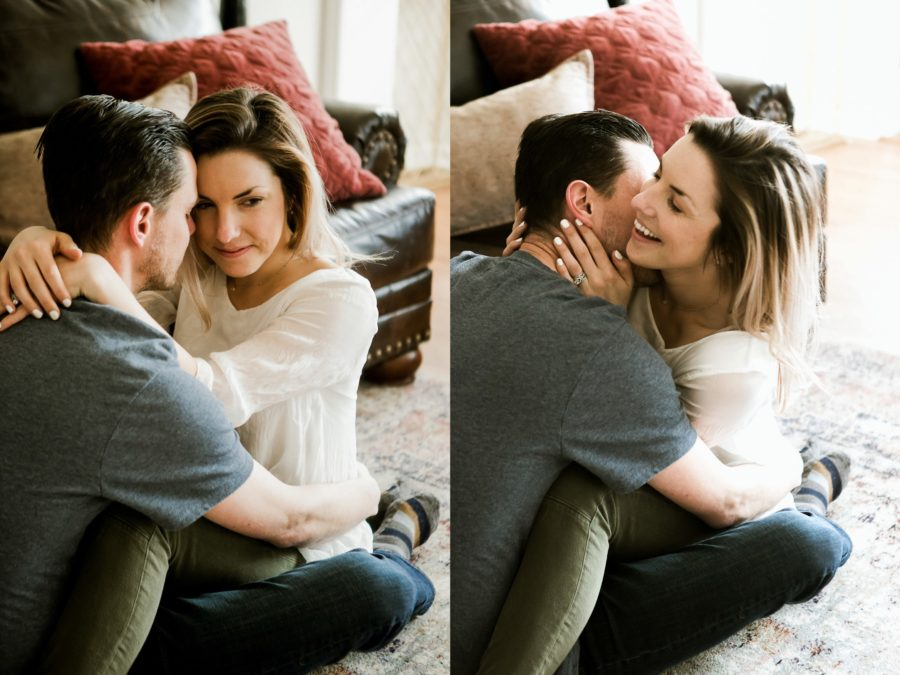 couple sitting on floor cuddling, Romantic in Home Anniversary Session