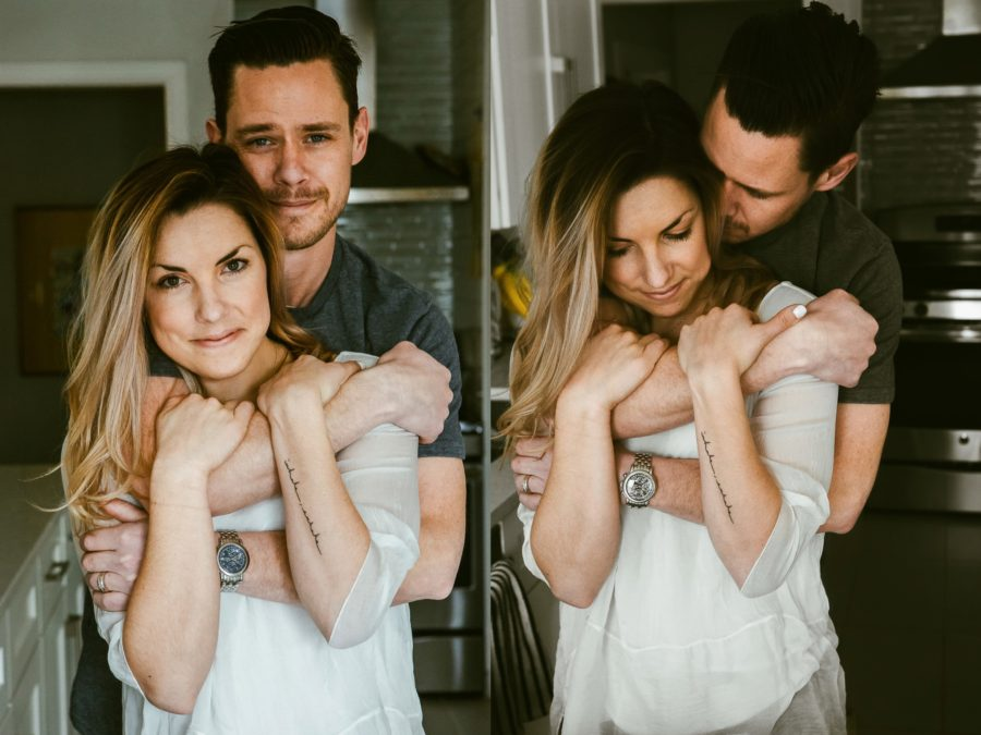 couple cuddling, Romantic in Home Anniversary Session