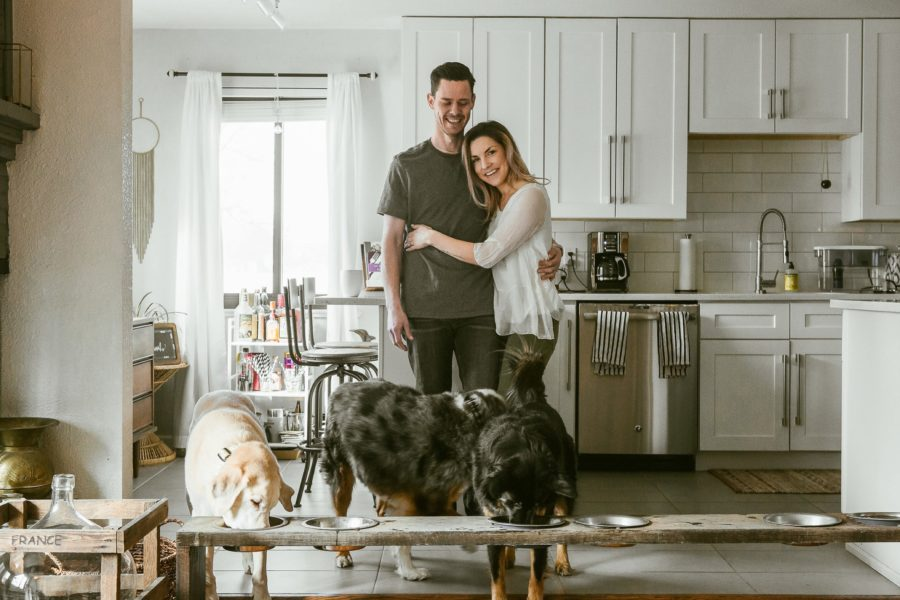 couple in kitchen with dogs, Romantic in Home Anniversary Session