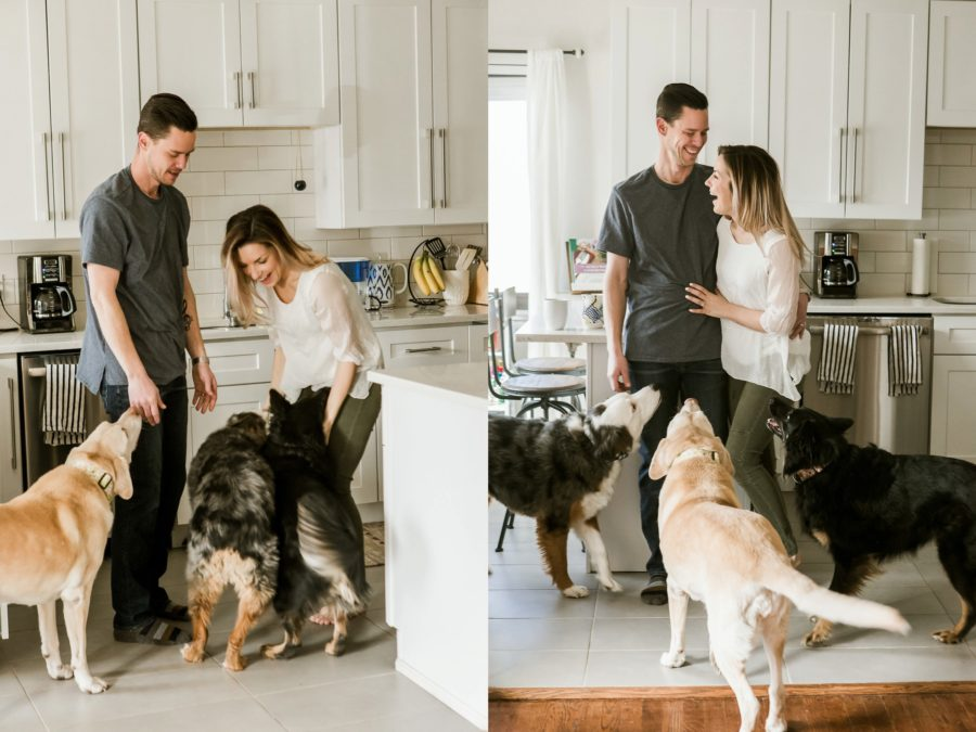 couple laughing in kitchen with dogs, Romantic in Home Anniversary Session