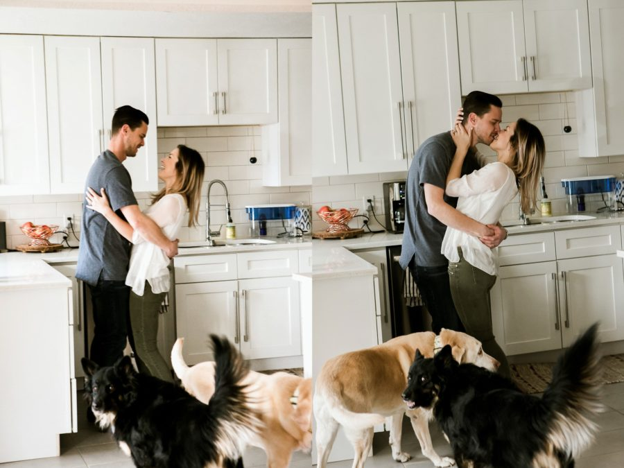 couple kissing in kitchen with dogs, Romantic in Home Anniversary Session