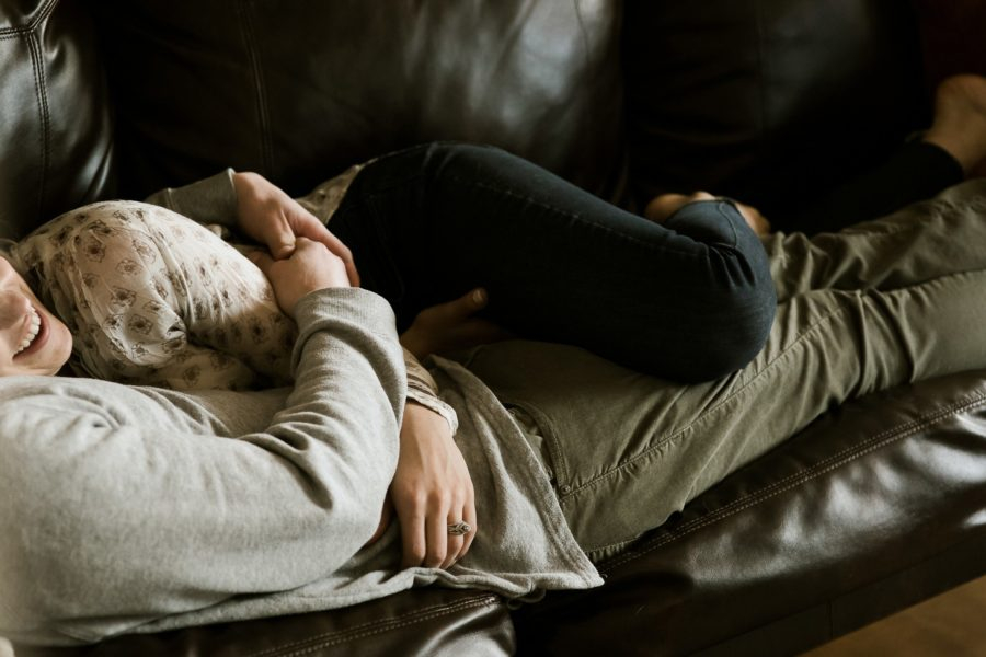 couple laying, Romantic in Home Anniversary Session