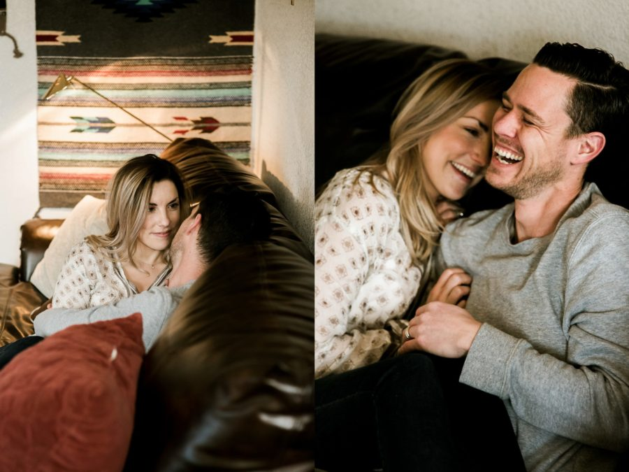 couple hugging on couch, Romantic in Home Anniversary Session