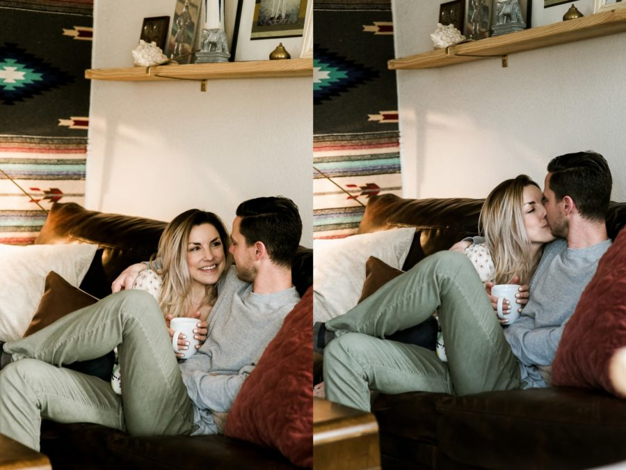 couple cuddling and drinking coffee, Romantic in Home Anniversary Session