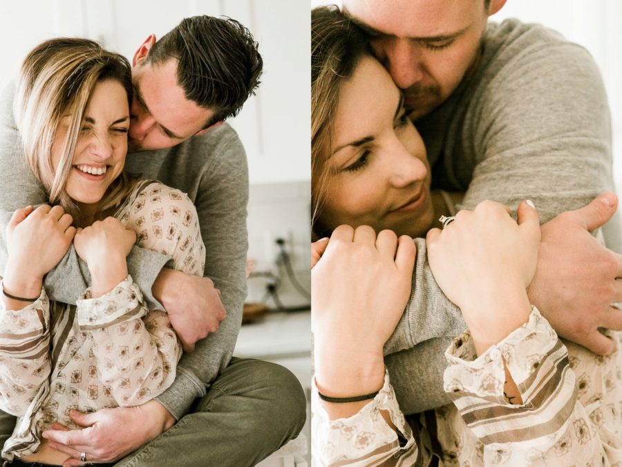 couple hugging, Romantic in Home Anniversary Session
