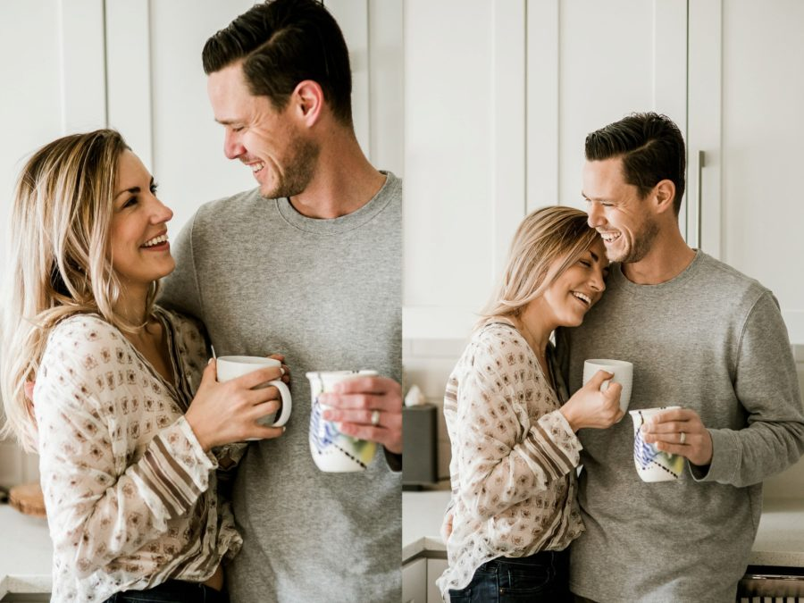 couple laughing in kitchen, Romantic in Home Anniversary Session