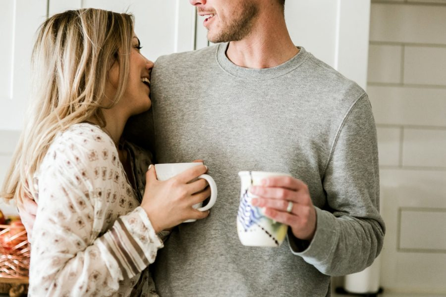 couple in kitchen drinking coffee, Romantic in Home Anniversary Session