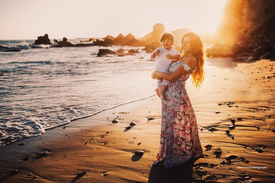 mom and son on beach sunset, daily fan favorite
