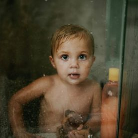 lifestyle picture of toddler in shower, daily fan favorite