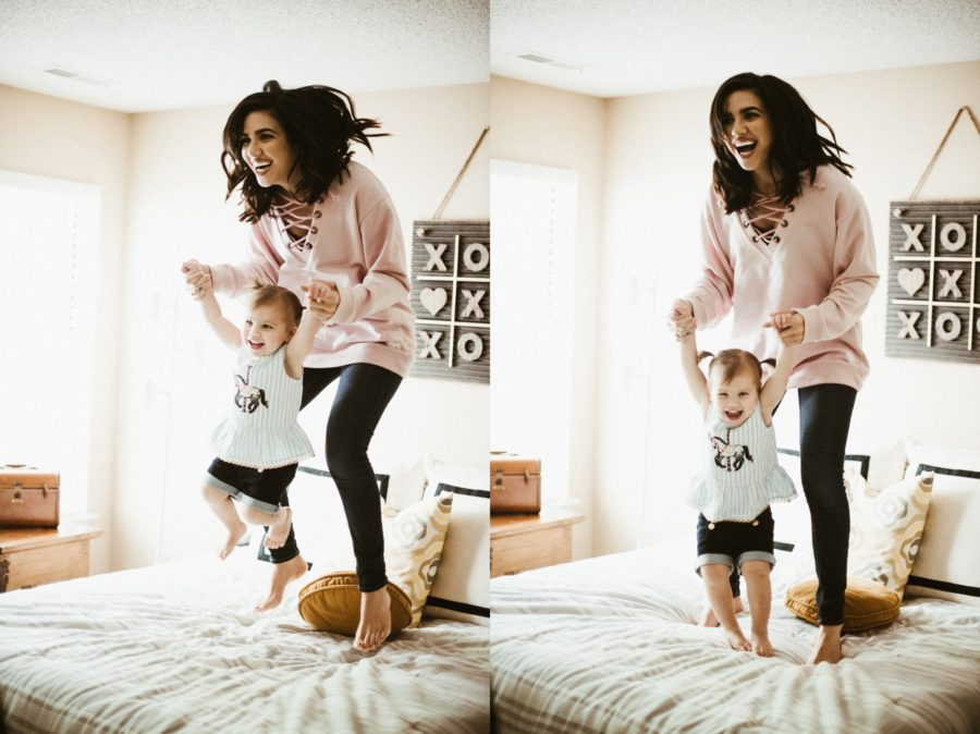 little girl jumping on bed, mom and daughter snuggling on bed, In Home Boho Mother and Daughter Session