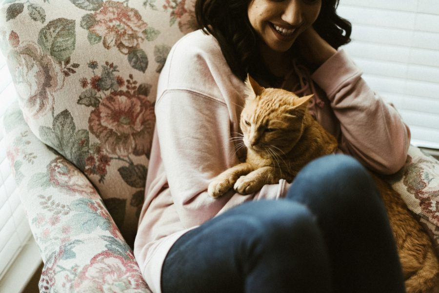 snuggling cat, In Home Boho Mother and Daughter Session