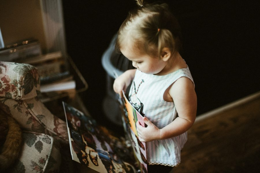 little girl reading, In Home Boho Mother and Daughter Session