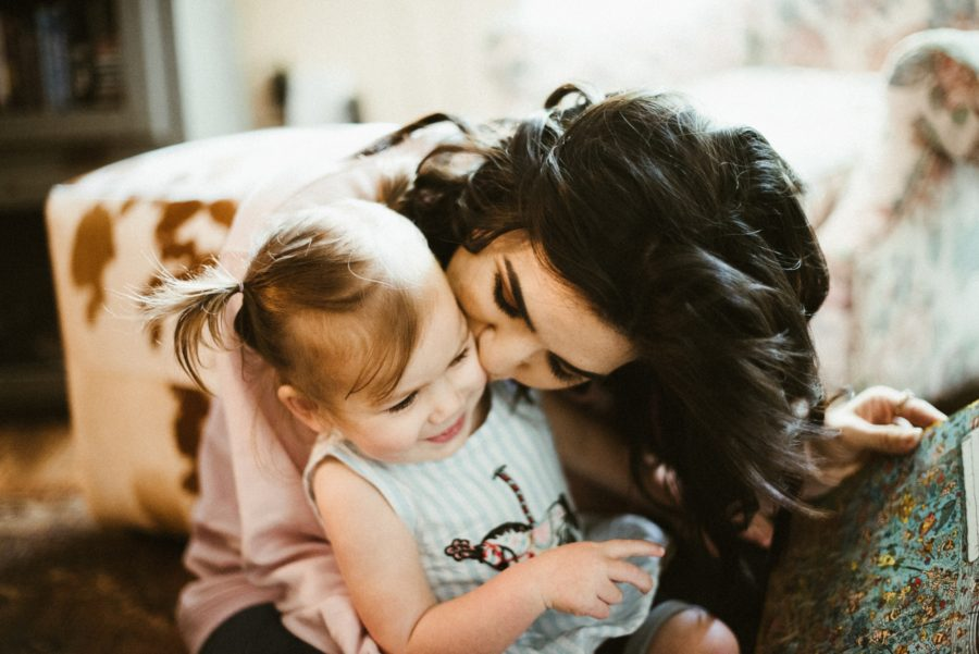 mom and daughter snuggling, In Home Boho Mother and Daughter Session
