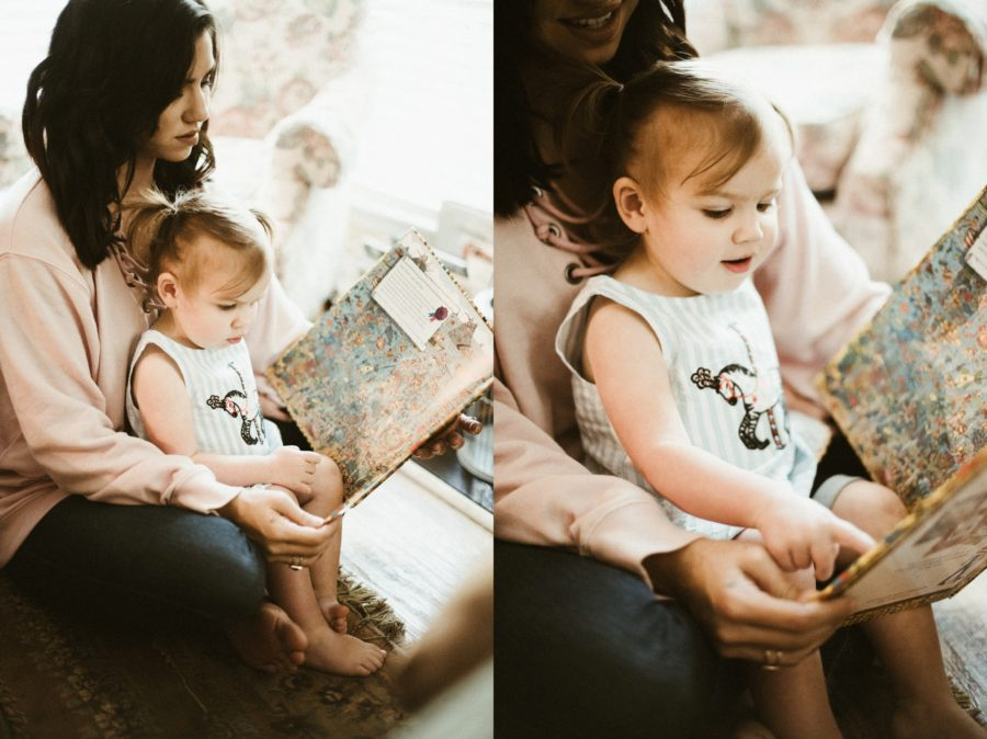 mom and daughter reading story together, In Home Boho Mother and Daughter Session