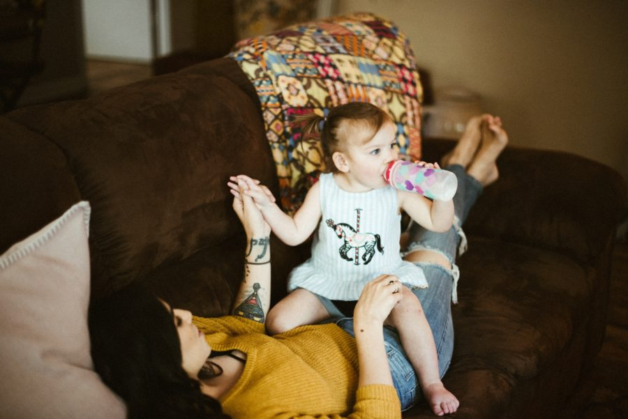 toddler drinking bottle, In Home Boho Mother and Daughter Session