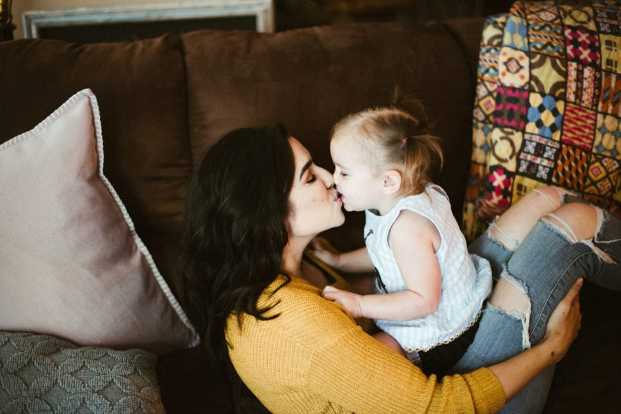 mom kissing daughter, In Home Boho Mother and Daughter Session