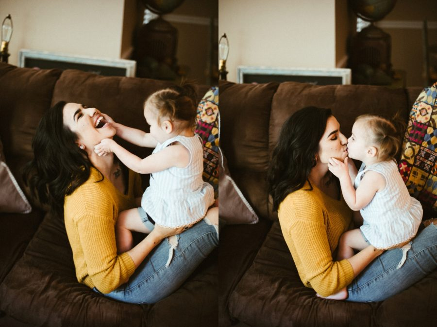 mom and daughter wrestling, In Home Boho Mother and Daughter Session
