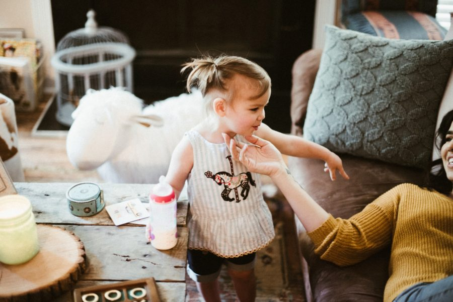 lifestyle family pictures, In Home Boho Mother and Daughter Session