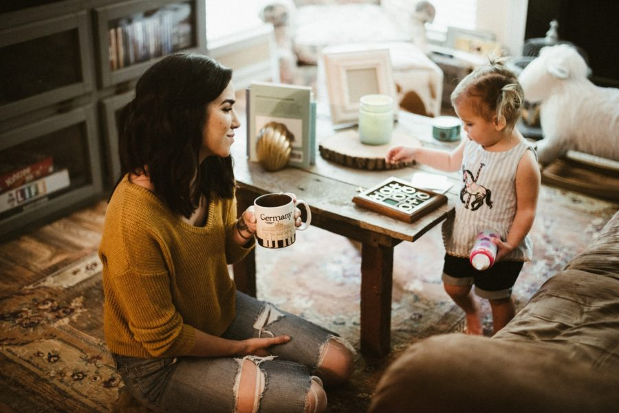 mom and daughter playing game, In Home Boho Mother and Daughter Session