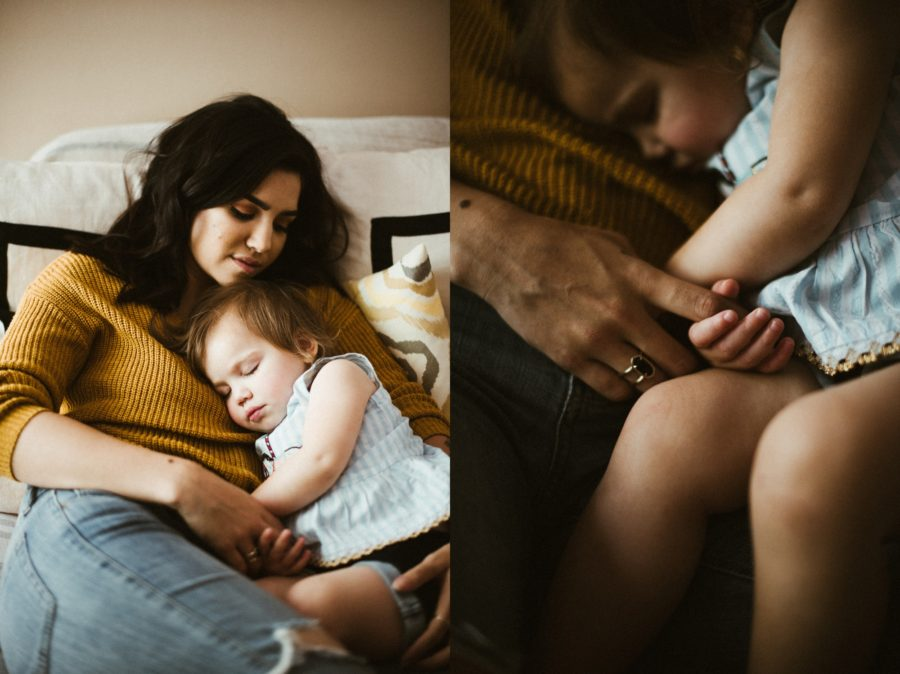 mom holding sleeping toddler, In Home Boho Mother and Daughter Session