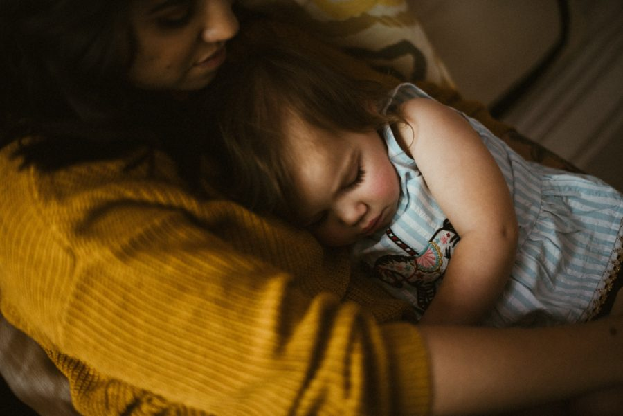 baby sleeping on mom, In Home Boho Mother and Daughter Session