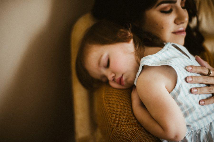 little girl sleeping on moms shoulder, In Home Boho Mother and Daughter Session