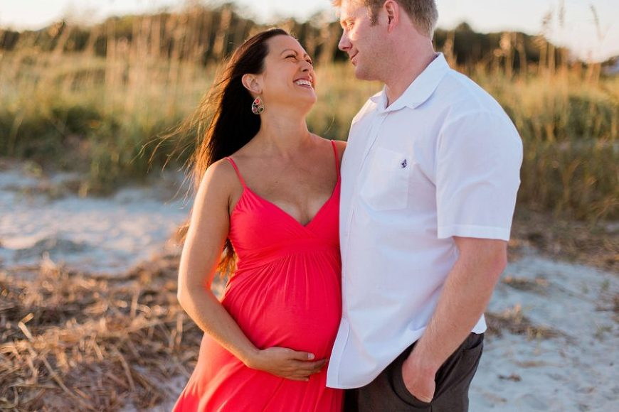 Couple beach maternity, Sunset Maternity Session on Charleston Beach