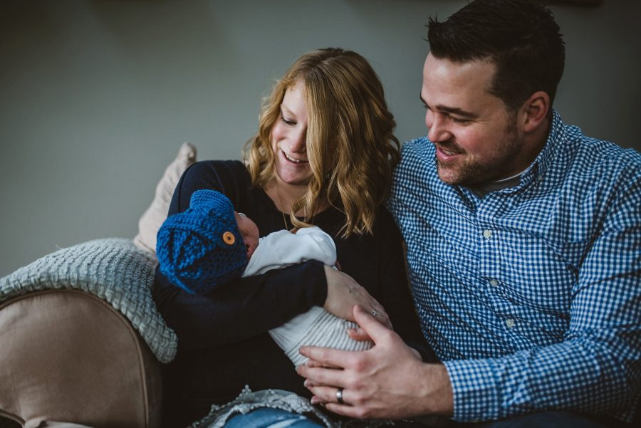 mom, dad and baby boy, Newborn Baby Boy Lifestyle In-Home Pictures
