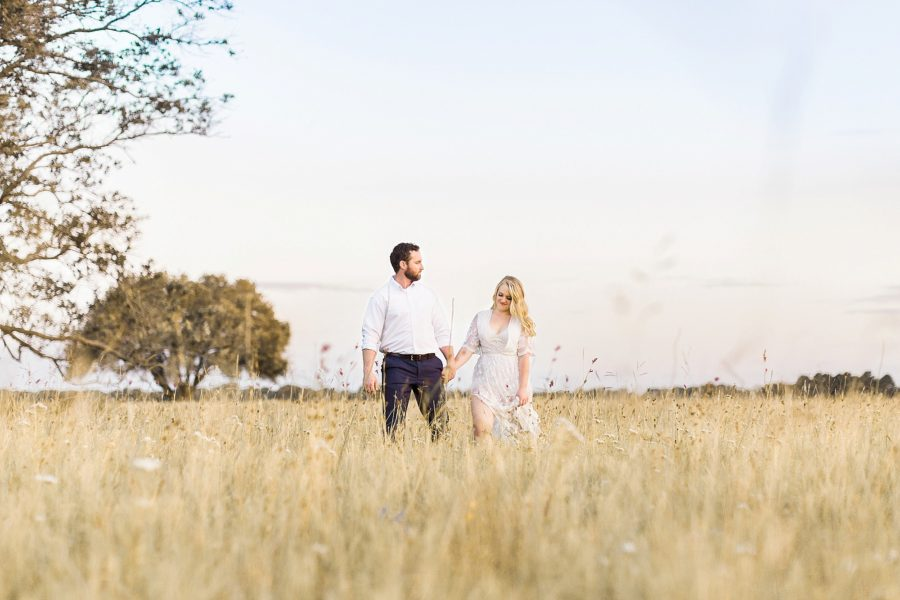 Couple in field, film engagement pictures, Dreamy Sunset Anniversary Pictures in Texas, Inspirational Photography Blog