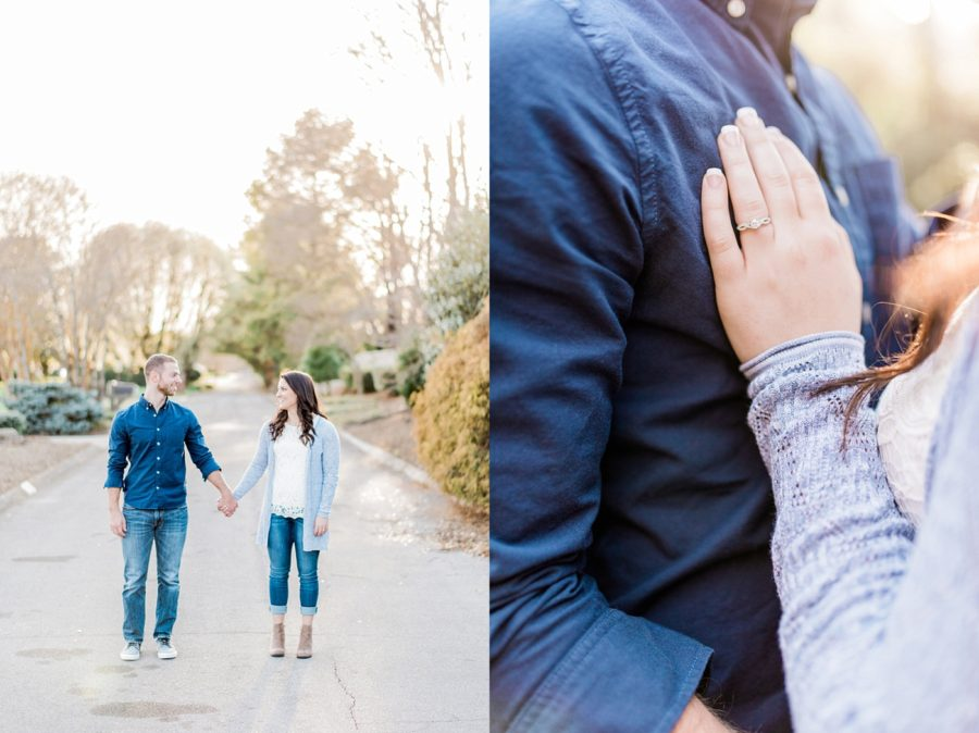 engagement poses, ring shots, Intimate Park Engagement Pictures in Tennessee