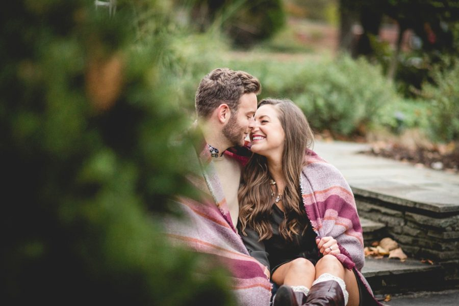 intimate couple pictures, Autumn Engagement Pictures at Indianapolis Museum of Art