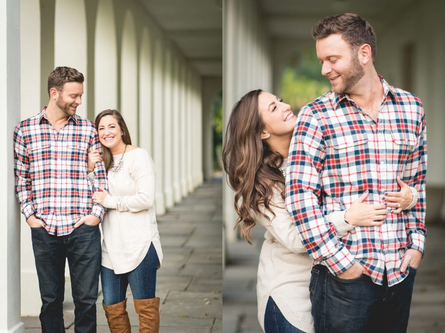 couple poses with buildings, Autumn Engagement Pictures at Indianapolis Museum of Art