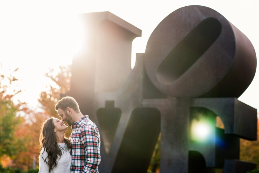 chicago LOVE building, Autumn Engagement Pictures at Indianapolis Museum of Art