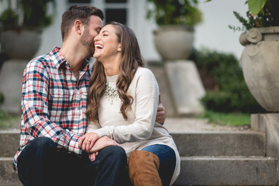 laughing happy couple, Autumn Engagement Pictures at Indianapolis Museum of Art