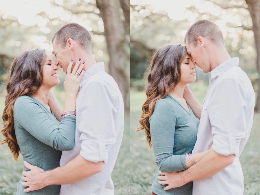 intimate poses, couple kissing, Spanish Moss Engagement Pictures in Florida