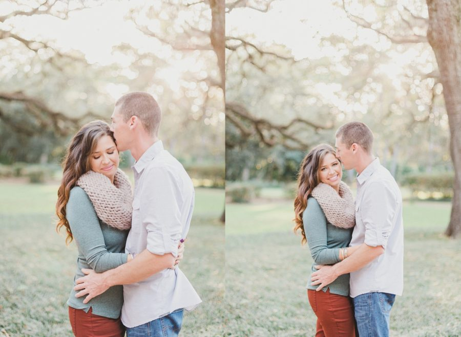 couple kissing, Spanish Moss Engagement Pictures in Florida