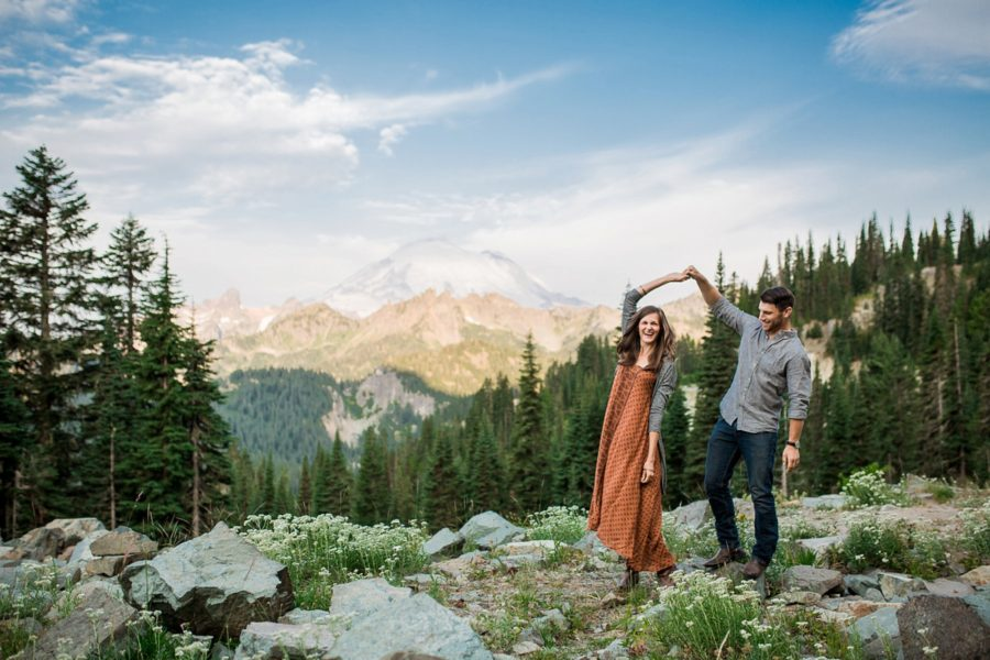 couple dancing, Adventurous Wilderness Anniversary Pictures in Washington