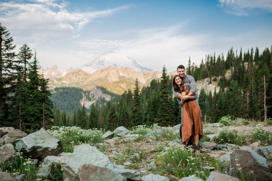 couple hugging, Adventurous Wilderness Anniversary Pictures in Washington
