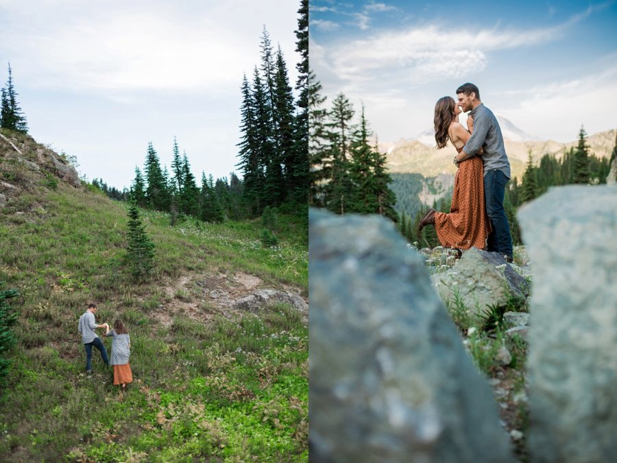 couple on hike, Adventurous Wilderness Anniversary Pictures in Washington