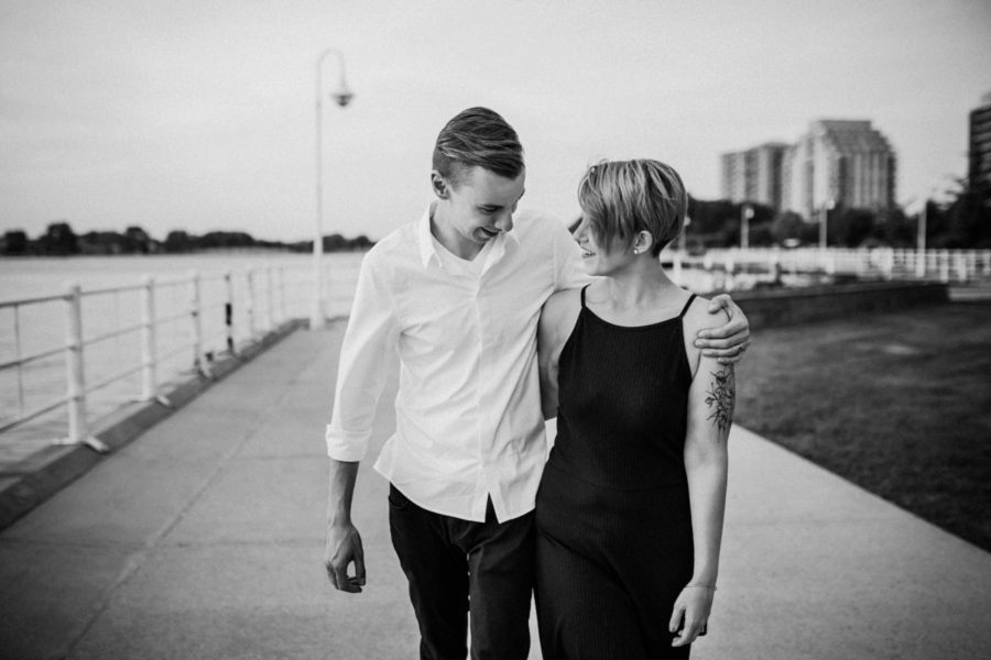 couple walking together, Urban Couple Session in Downtown Ontario