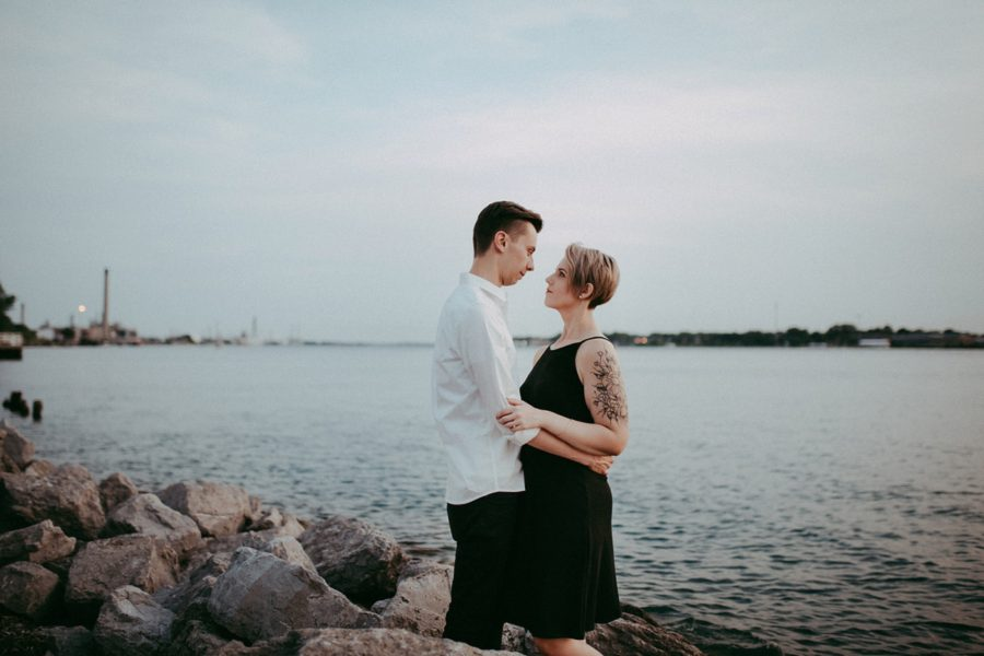 couple engagement pictures by the water, Urban Couple Session in Downtown Ontario
