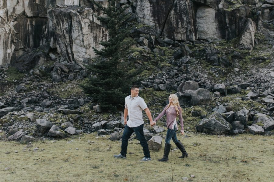 couple hiking, Romantic Columbia Gorge Engagement Pictures in Oregon