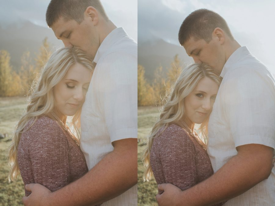 intimate couple poses, Romantic Columbia Gorge Engagement Pictures in Oregon